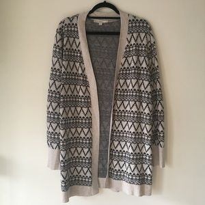 LOFT Printed Wool Blend Open Long Cardigan